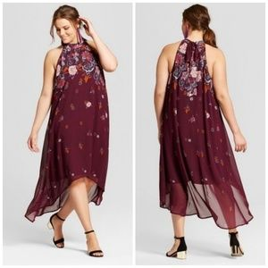Xhilaration Burgundy Floral Print High Low Dress